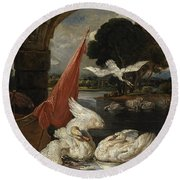 The Descent Of The Swan, Illustration Round Beach Towel