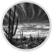 The Desert In Black And White Round Beach Towel