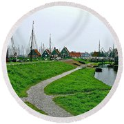 The Dike In Enkhuizen-netherlands Round Beach Towel