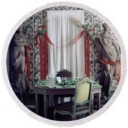 The Dining Room In James A. Beard's Home Round Beach Towel