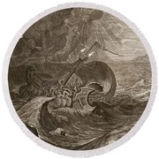 The Dioscuri Protect A Ship, 1731 Round Beach Towel by Bernard Picart