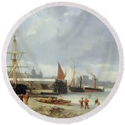 The Docks On The Bank At Greenwich  Round Beach Towel