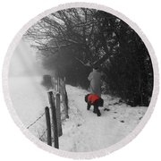 The Dog In The Red Coat Round Beach Towel