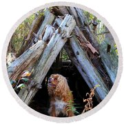 The Dog In The Teepee Round Beach Towel