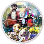 The Dogs Parade In New Orleans Round Beach Towel