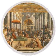 The Donation Of Rome. Round Beach Towel