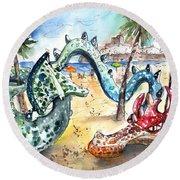 The Dragon From Penicosla Round Beach Towel