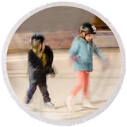 The Dreams Of Little Skaters  Round Beach Towel