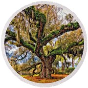 The Dueling Oak Painted Round Beach Towel