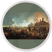 The Duke Of Wellington At La Haye Sainte. The Battle Of Waterloo Round Beach Towel