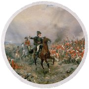 The Duke Of Wellington At Waterloo Round Beach Towel