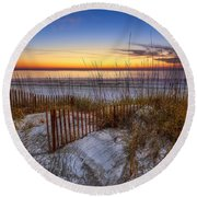 The Dunes At Sunset Round Beach Towel by Debra and Dave Vanderlaan