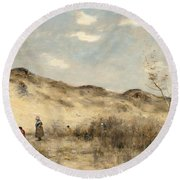 The Dunes Of Dunkirk Round Beach Towel by Jean Baptiste Camille Corot