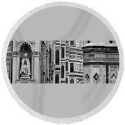 The Duomo Black And White Round Beach Towel
