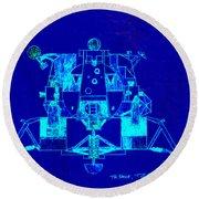 The Eagle Apollo Lunar Module In Blue Round Beach Towel