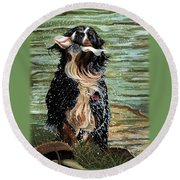 The Early Berner Catcheth Phone Round Beach Towel