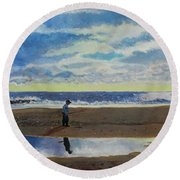 The Early Fisherman Round Beach Towel