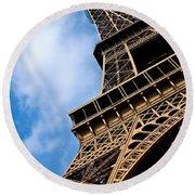The Eiffel Tower From Below Round Beach Towel by Nila Newsom