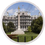 The Eisenhower Executive Office Building Round Beach Towel