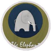The Elephant Cute Portrait Round Beach Towel