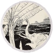 The Elephant's Child Going To Pull Bananas Off A Banana-tree Round Beach Towel