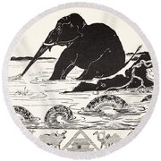 The Elephant's Child Having His Nose Pulled By The Crocodile Round Beach Towel by Joseph Rudyard Kipling
