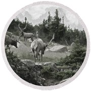 The Elk Painterly 2 Round Beach Towel