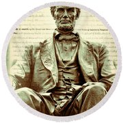 The  Emancipation Proclamation And Abraham Lincoln Round Beach Towel