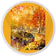 The Embassay Of Autumn - Palette Knife Oil Painting On Canvas By Leonid Afremov Round Beach Towel