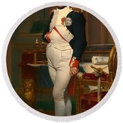 The Emperor Napoleon In His Study 1812 Round Beach Towel