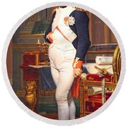 The Emperor Napoleon In His Study At The Tuileries By Jacques Louis David Round Beach Towel