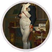 The Emperor Napoleon In His Study Round Beach Towel