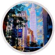 The Empire State Building Round Beach Towel by Jon Neidert