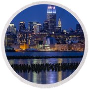 The Empire State Building Pastels Esb Round Beach Towel
