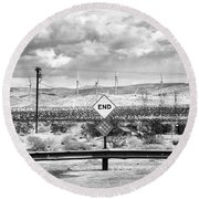 The End Bw Round Beach Towel