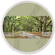 The End Of The Alley Round Beach Towel