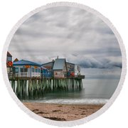 The End Of The Season Round Beach Towel by Guy Whiteley