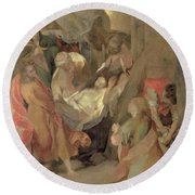 The Entombment Of Christ Round Beach Towel