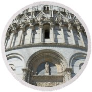 The Entrance To The Baptistery In Pisa  Round Beach Towel