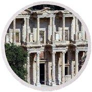 The Ephesus Library In Turkey Round Beach Towel