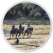 The Equestrians   Round Beach Towel