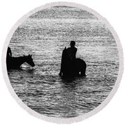 The Equestrians-silhouette Round Beach Towel