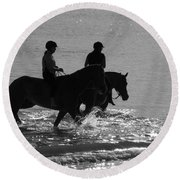 The Equestrians-silhouette V2 Round Beach Towel