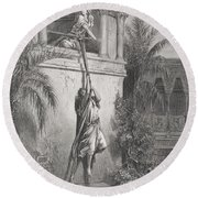 The Escape Of David Through The Window Round Beach Towel by Gustave Dore