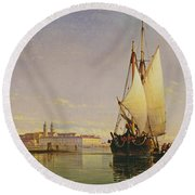 The Euganean Hills And The Laguna Of Venice - Trabaccola Waiting For The Tide Sunset Round Beach Towel by Edward William Cooke
