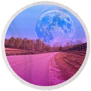 The Evening Begins Round Beach Towel by Betsy Knapp