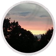 The Evening Sky Round Beach Towel