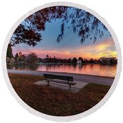 The Evening View Revisited Round Beach Towel