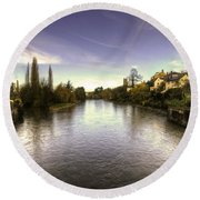 The Exe At Tiverton  Round Beach Towel