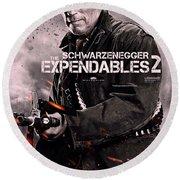 The Expendables 2 Schwarzenegger Round Beach Towel